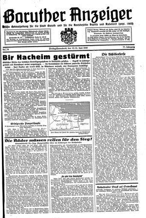 Baruther Anzeiger vom 12.06.1942