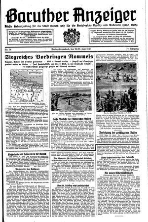 Baruther Anzeiger vom 26.06.1942