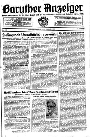 Baruther Anzeiger vom 18.09.1942