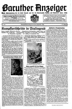 Baruther Anzeiger vom 23.09.1942