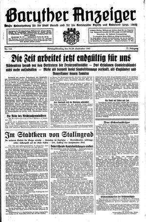 Baruther Anzeiger vom 28.09.1942