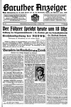 Baruther Anzeiger vom 30.09.1942