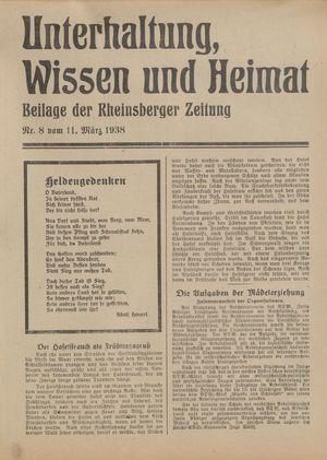 Unterhaltung, Wissen und Heimat vom 11.03.1938