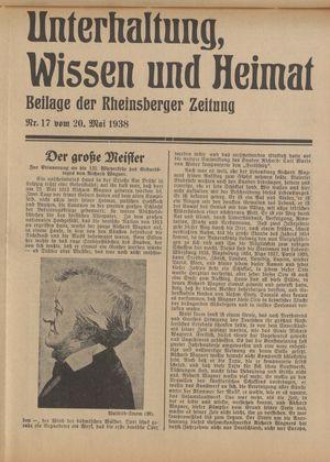 Unterhaltung, Wissen und Heimat vom 20.05.1938