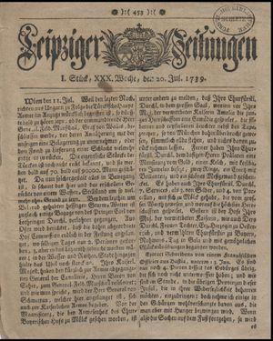 Leipziger Zeitungen vom 20.07.1739