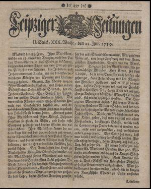 Leipziger Zeitungen vom 21.07.1739