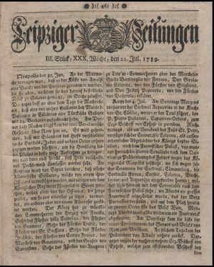 Leipziger Zeitungen vom 22.07.1739