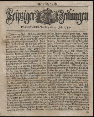 Leipziger Zeitungen vom 23.07.1739