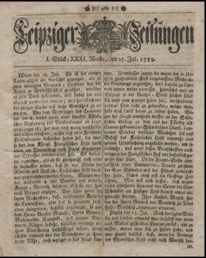 Leipziger Zeitungen vom 27.07.1739