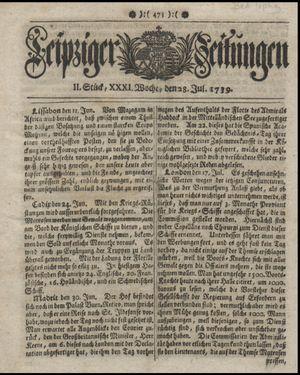 Leipziger Zeitungen vom 28.07.1739