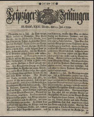 Leipziger Zeitungen vom 29.07.1739