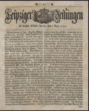 Leipziger Zeitungen vom 05.08.1739