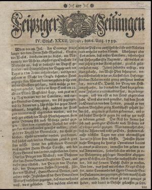 Leipziger Zeitungen vom 06.08.1739