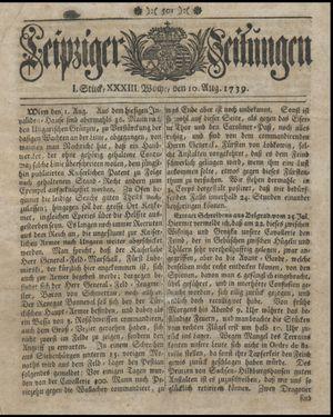 Leipziger Zeitungen vom 10.08.1739