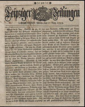 Leipziger Zeitungen vom 17.08.1739