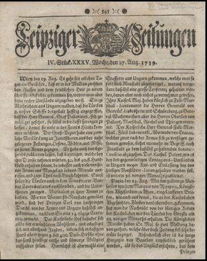 Leipziger Zeitungen vom 27.08.1739