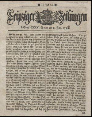 Leipziger Zeitungen vom 31.08.1739