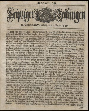 Leipziger Zeitungen vom 02.09.1739
