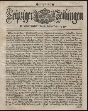 Leipziger Zeitungen vom 03.09.1739