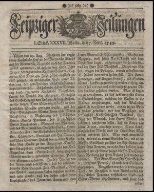 Leipziger Zeitungen vom 07.09.1739