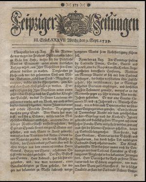 Leipziger Zeitungen vom 09.09.1739