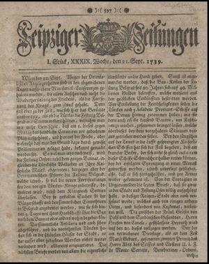Leipziger Zeitungen vom 21.09.1739