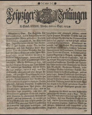 Leipziger Zeitungen on Sep 22, 1739