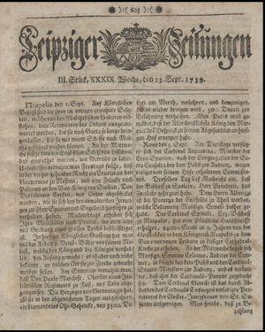 Leipziger Zeitungen vom 23.09.1739
