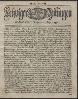 Leipziger Zeitungen vom 24.09.1739