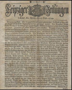 Leipziger Zeitungen vom 28.09.1739