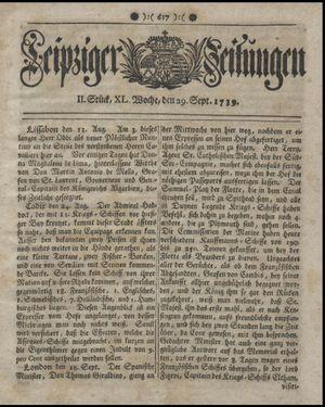 Leipziger Zeitungen vom 29.09.1739