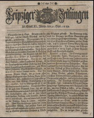 Leipziger Zeitungen vom 30.09.1739