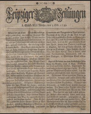 Leipziger Zeitungen vom 05.10.1739