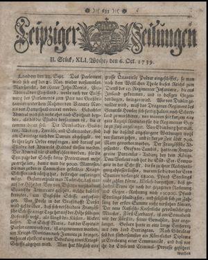 Leipziger Zeitungen on Oct 6, 1739