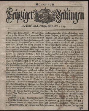 Leipziger Zeitungen vom 07.10.1739