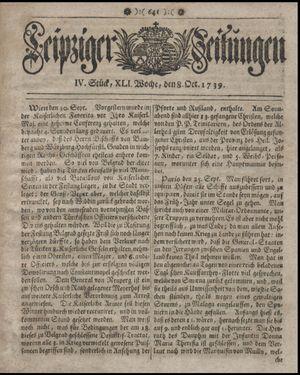 Leipziger Zeitungen vom 08.10.1739