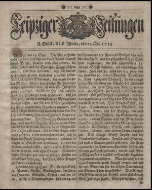Leipziger Zeitungen vom 13.10.1739