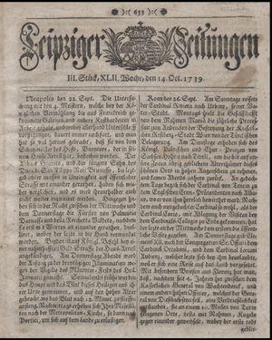 Leipziger Zeitungen vom 14.10.1739