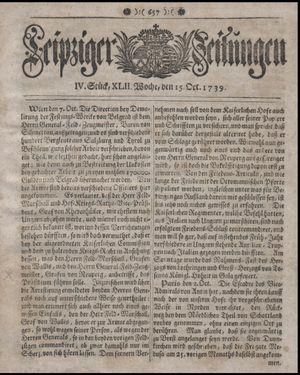 Leipziger Zeitungen vom 15.10.1739