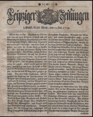 Leipziger Zeitungen vom 19.10.1739