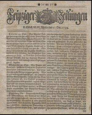 Leipziger Zeitungen vom 20.10.1739