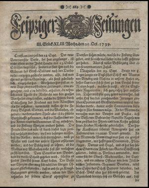 Leipziger Zeitungen vom 21.10.1739