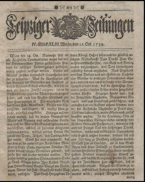 Leipziger Zeitungen vom 22.10.1739