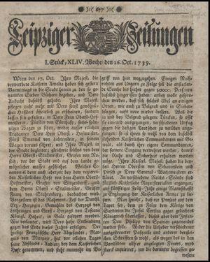 Leipziger Zeitungen vom 26.10.1739