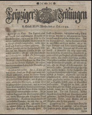 Leipziger Zeitungen on Oct 27, 1739