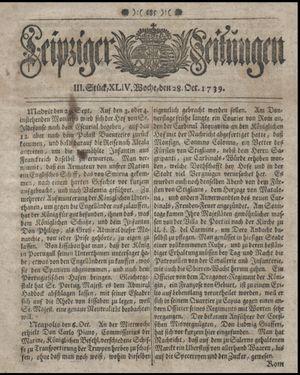 Leipziger Zeitungen vom 28.10.1739