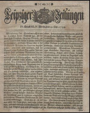 Leipziger Zeitungen vom 29.10.1739