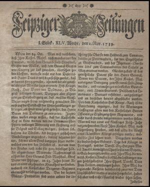Leipziger Zeitungen vom 02.11.1739