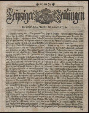 Leipziger Zeitungen vom 04.11.1739