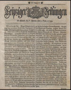 Leipziger Zeitungen on Nov 5, 1739
